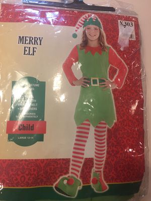 Kids 12-14 (L) Merry Elf Costume New Ig for Sale in Mansfield, TX