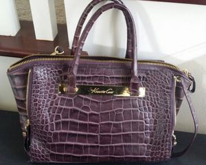 Lk NEW Kenneth Cole Purple Crocodile Satchel Handbag Bag Tote Bag + Extra Shoulder Strap + Zippered Compartments for Sale in Monterey Park, CA