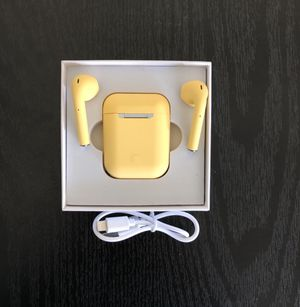 Bluetooth Wireless Earpods Earbuds Earphone APPLE AirPods IPHONE 6 7 8 X XR XS 11 MAX PRO Plus Android Yellow for Sale in Amarillo, TX