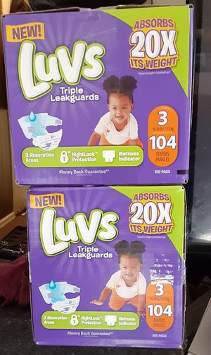Luvs diapers size 3 2 boxes for Sale in Mount Healthy, OH