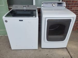 Washer and electric dryer set good working condition for Sale in Denver, CO