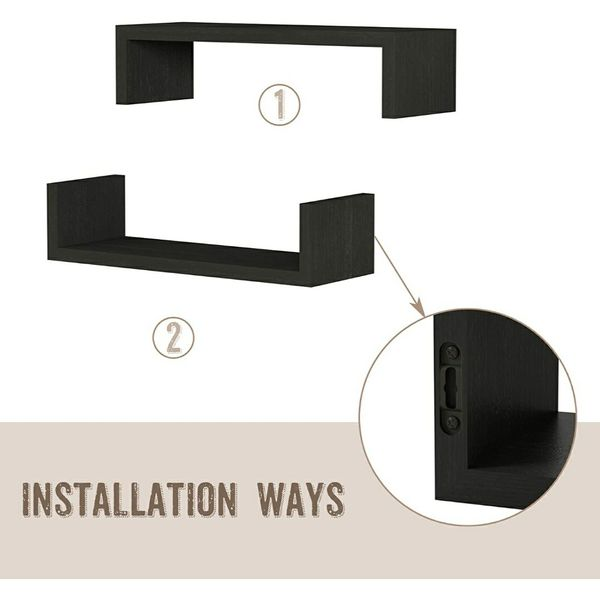 Black 3 Piece Set Hanging Wall Mounted, Solid Wood Wall Shelves