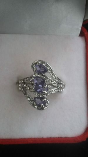 Ladies fashion 925 silver natural sapphire gemstone diamonds ring princess wedding band size 9 for Sale in Moreno Valley, CA