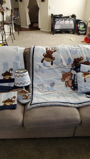 Boys monkey themed crib set for Sale in Schertz, TX