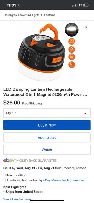 Rechargeable camping lantern for Sale in Cerritos, CA