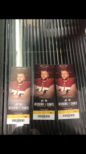 3 tickets to the Redskins vs. Giants 12/9/18 for Sale in Hyattsville, MD