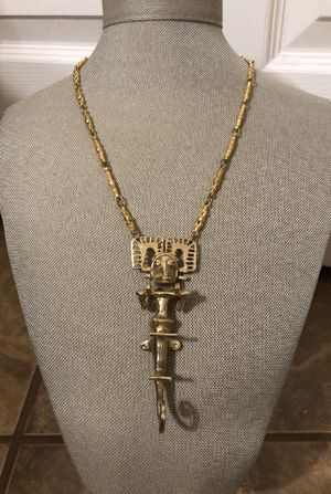 Vintage tribal reproduction Gold tone Alva Studios Necklace for Sale in San Antonio, TX