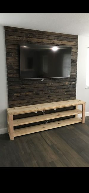 7 foot long solid wood console table TV shelves rustic farmhouse for Sale in Miami, FL