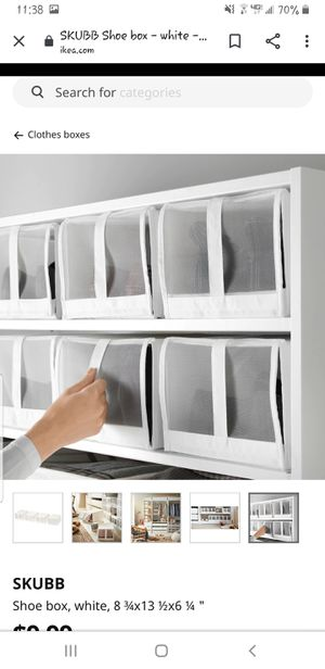 Shoe storage shelves with 12 white covers for Sale in Las Vegas, NV