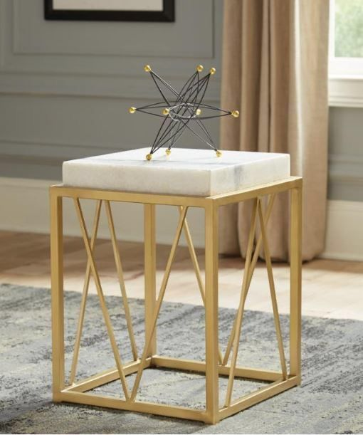 Floor model real marble Square Accent Table White And Gold Floor model real marble Square Accent Table White And Gold