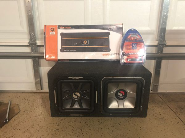 2 12 Kicker L7s w/ car amp bass and 0 gauge wires