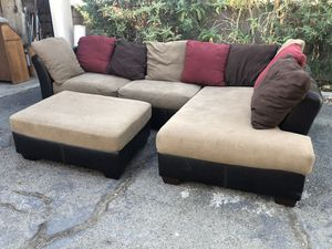 Ashley's brown sectional couch with ottoman for Sale in Montclair, CA