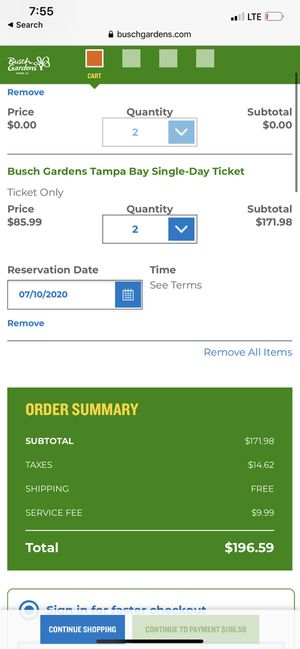 Busch gardens tickets for Sale in Fort Myers, FL
