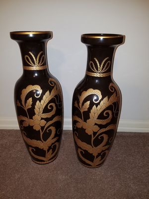 Exotic and Exquisite Gold and Black Ceramic Vase Set! Tall for Sale in Pickerington, OH