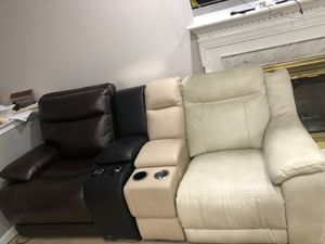 Contemporary style recliner with 4 cup holders lights and hidden storage for Sale in Ashburn, VA