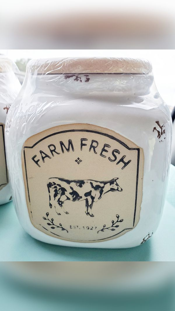 White Large Farm Fresh Cookie Jars