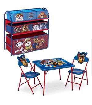 Nick Jr. PAW Patrol 4-Piece Toddler Playroom Set by Delta Children - Includes Table & 2 Chair Set and Multi-Bin Toy Organizer $42 FIRM for Sale in Redlands, CA
