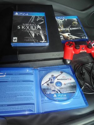 PS4 with red controller and 3 games including Skyrim Special Edition sealed for Sale in Escondido, CA