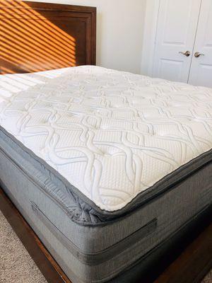 Queen bed frame + mattress + box spring for Sale in McKinney, TX