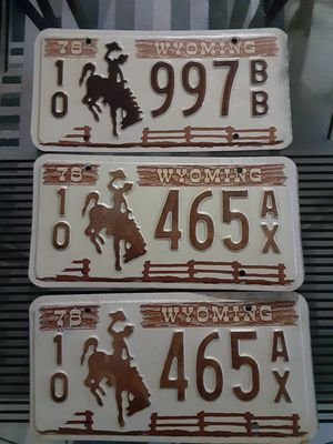 Old Wyoming license plaits for Sale in Glendale, AZ