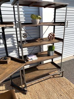 Rustic wood and iron tall shelf unit with foot step and handles for Sale in San Diego,  CA