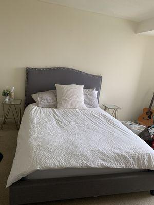 Beautiful Studded Gray headboard + bedframe from Value City for Sale in Arlington, VA