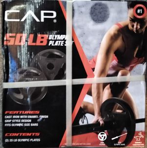 CAP 50 lb Olympic Weight Plate Set (25lb x 2) - NEW IN HAND! for Sale in Pottsville, PA