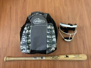 Louisville Slugger Backpack with Youth Bat and Softball Mask for Sale in Miami, FL