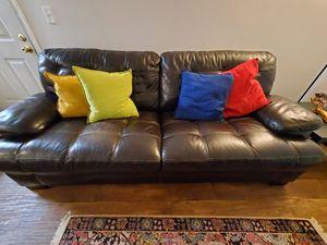 Simon Li Brown Leather Sofa for Sale in Beaverton, OR