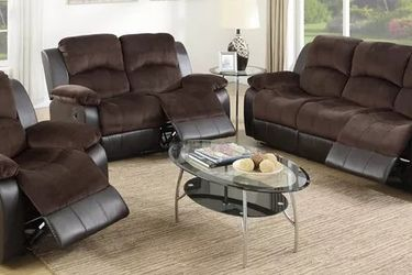 CHOCOLATE BROWN PADDED SUEDE BONDED LEATHER 3 PIECE LIVING ROOM RECLINER SET SOFA LOVESEAT ARM CHAIR - SILLONES RECLINABLES for Sale in San Fernando,  CA