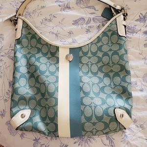Coach Hobo Hand Bag, Turquoise and White for Sale in Brandon, FL