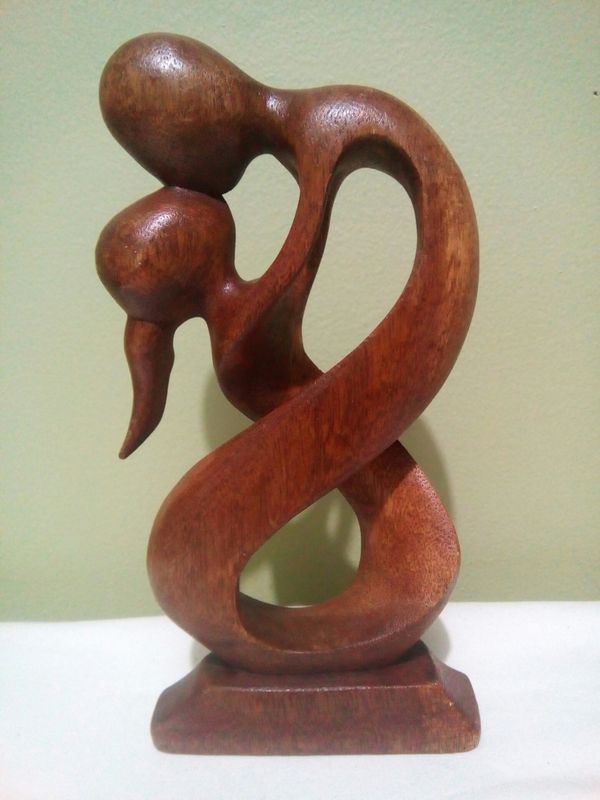 "Lovers Statue Huge Embrace Wood Statue 8"", Handmade, Abstract Modern Art Statue"