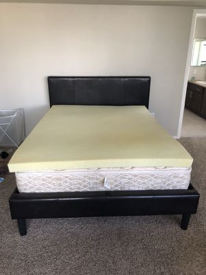 Queen bed frame, mattress, and foam topper for Sale in Denver, CO