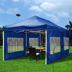 $210 New In Box Heavy Duty 10x20ft Canopy Pop Up Tent With Side Walls Instant Shade Carry Bag Rope Stake, Blue color for Sale in Los Angeles,  CA