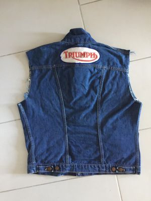 TRIUMPH Motorcycle Biker Denim Jean Jacket Vest Sleeveless Vintage for Sale in Miami, FL