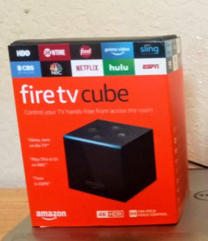 Amazon- Fire TV Cube 16GB 2nd Generation Media Streaming Media Player with built in Alexa Voice Remote - Black for Sale in Shady Shores, TX