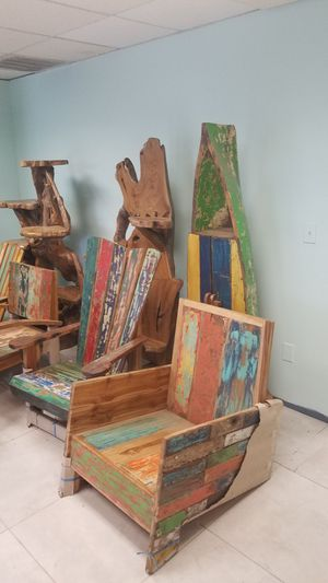 Warehouse full of Recycled Boat Wood Furniture and Nautical Antiques for Sale in Port St. Lucie, FL