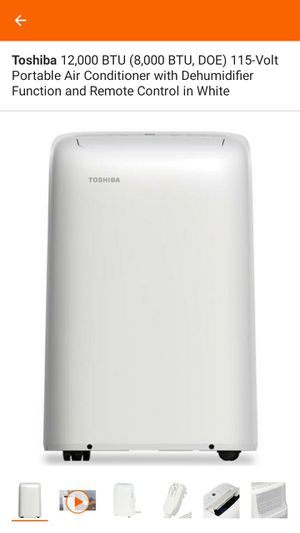 Toshiba 12,000 BTU (8,000 BTU, DOE) 115-Volt Portable Air Conditioner with Dehumidifier Function and Remote Control in White A/C RETAIL $500 for Sale in Concord, CA