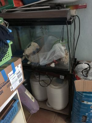 "Fish tank and stand. Comes with stuff like corals and large containers for water. Also a light. It is about 18"" by 29"" by 12"" so about 30 gallons. for Sale in Miami, FL"