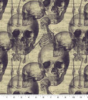 Skulls & Skeleton Sketch Fabric for Sale in Bellflower, CA