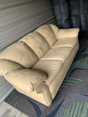 Leather beige couch for Sale in Winter Garden, FL