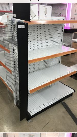 2x White end cap metal shelves with all accessories each 175$ for Sale in Miramar, FL