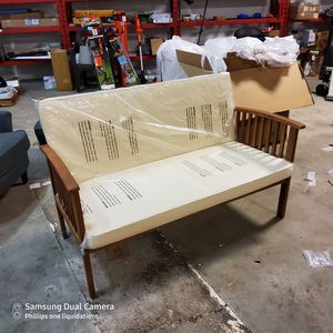 Noble House Luciano Brown Patina Wood Outdoor Bench with Cream Cushion for Sale in Duluth, GA