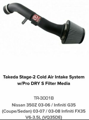 AFE TAKEDA TR-3001B COLD AIR INTAKE G35 350Z V6 for Sale in Chino Hills, CA