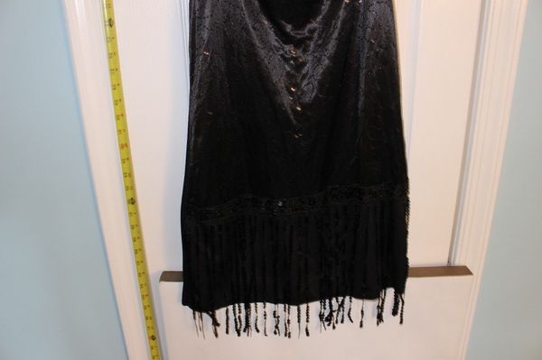 Women Black Fringe Flapper Halloween Costume Small Totally Ghoul - NEW w Tag