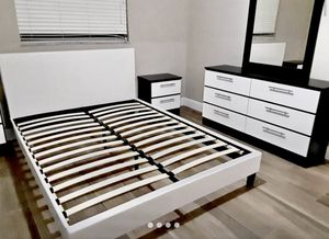 New queen bed frame mirror dresser and one nightstand mattress is not included for Sale in Boynton Beach, FL