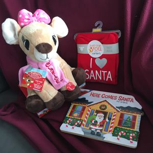 Brand New Christmas Package , Musical Plush ~ Carter's Long Sleeve ~Santa PopUp Book !! for Sale in Berlin, CT
