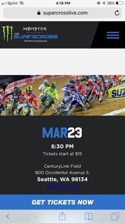 Monster Supercross tickets available March 23rd for Sale in Ellensburg,  WA