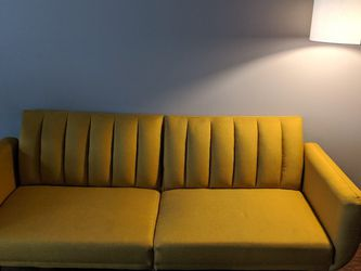 Mustard Yellow Couch + Futon for Sale in Cleveland,  OH