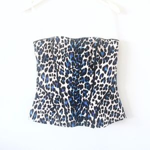 WHBM Bustier Top Leopard Print Blue White Sz 6 for Sale in Downey, CA